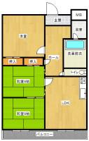 和室6畳×2、洋室(間取)