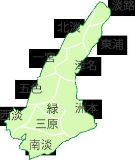 淡路島の旧市名入り地図